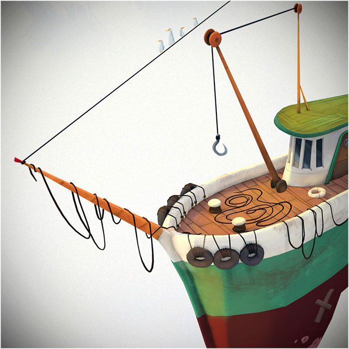 Fishing Boat: Fan Art 3D – Low-poly hand-paint